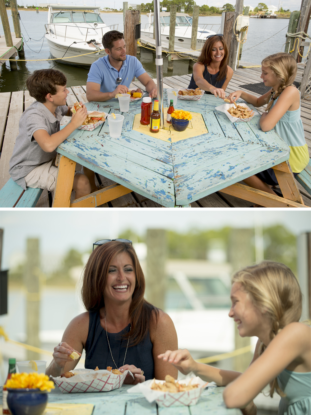 A family enjoying the fresh catch at a popular restaurant versus a relaxed family setting